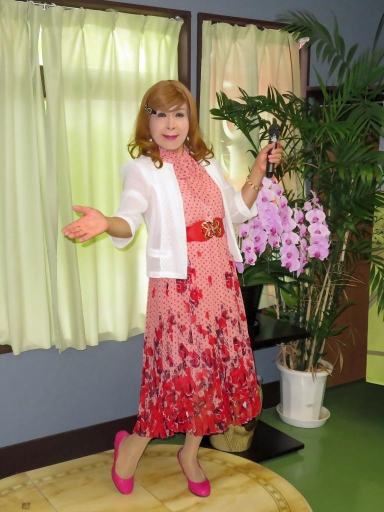 ピンク総花柄シフォンプリーツワンピカラオケ(1)