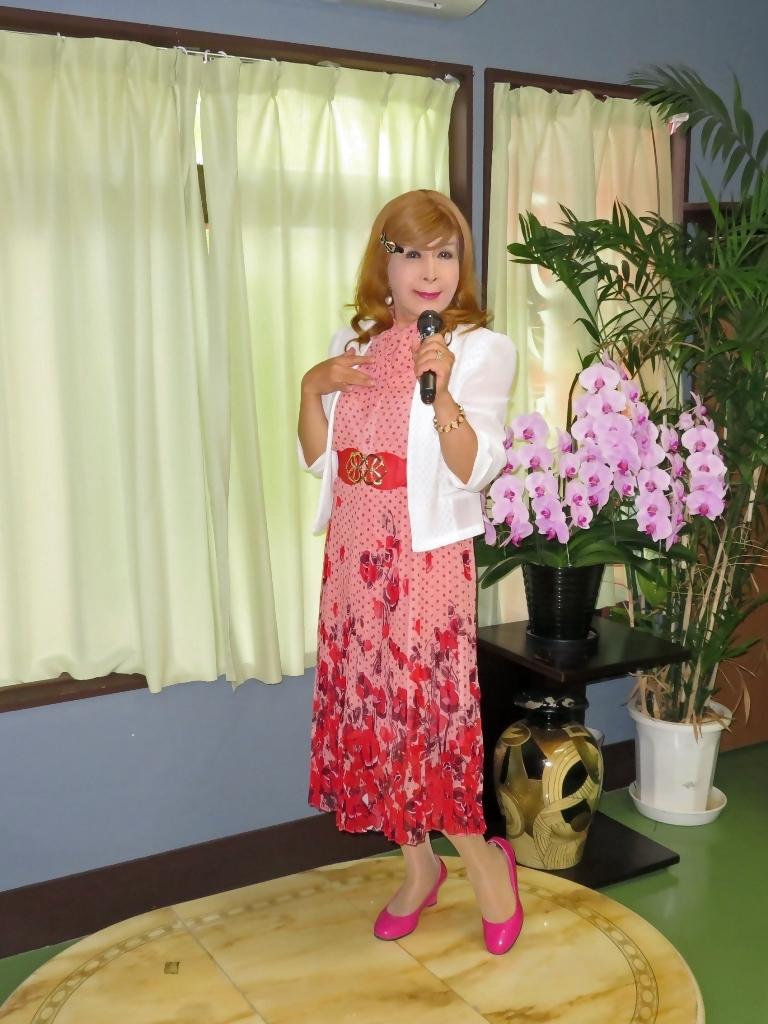 ピンク総花柄シフォンプリーツワンピカラオケ(3)