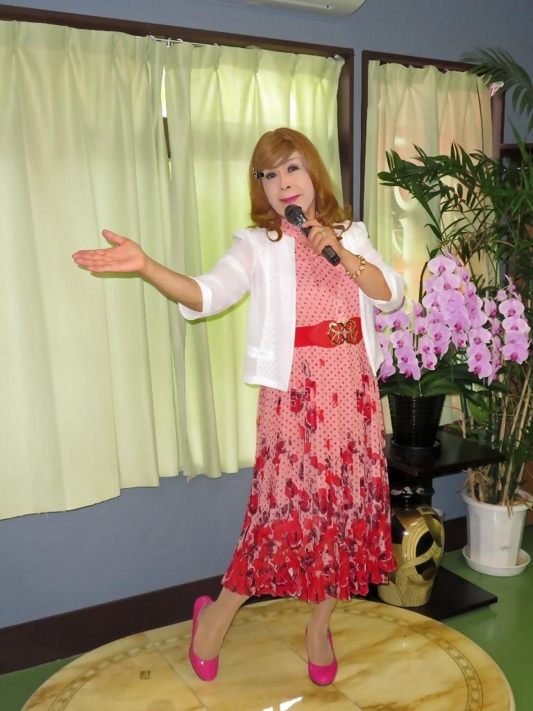 ピンク総花柄シフォンプリーツワンピカラオケ(4)