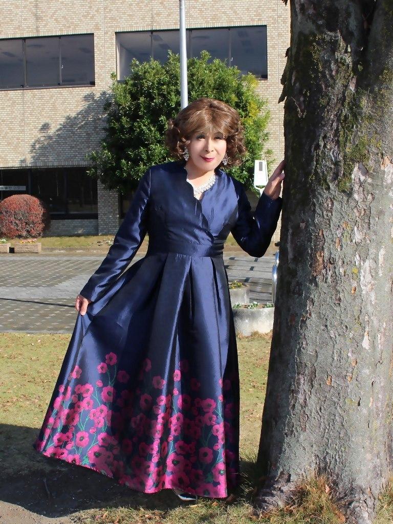 裾花柄濃紺ドレスB(1)