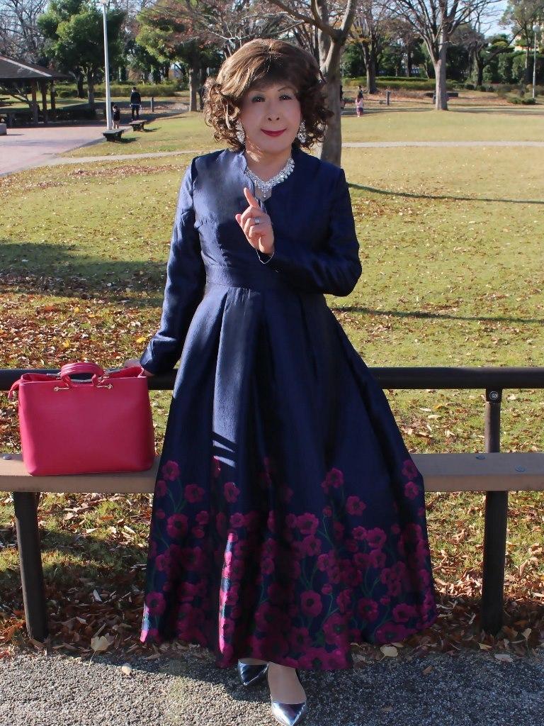 裾花柄濃紺ドレスB(3)
