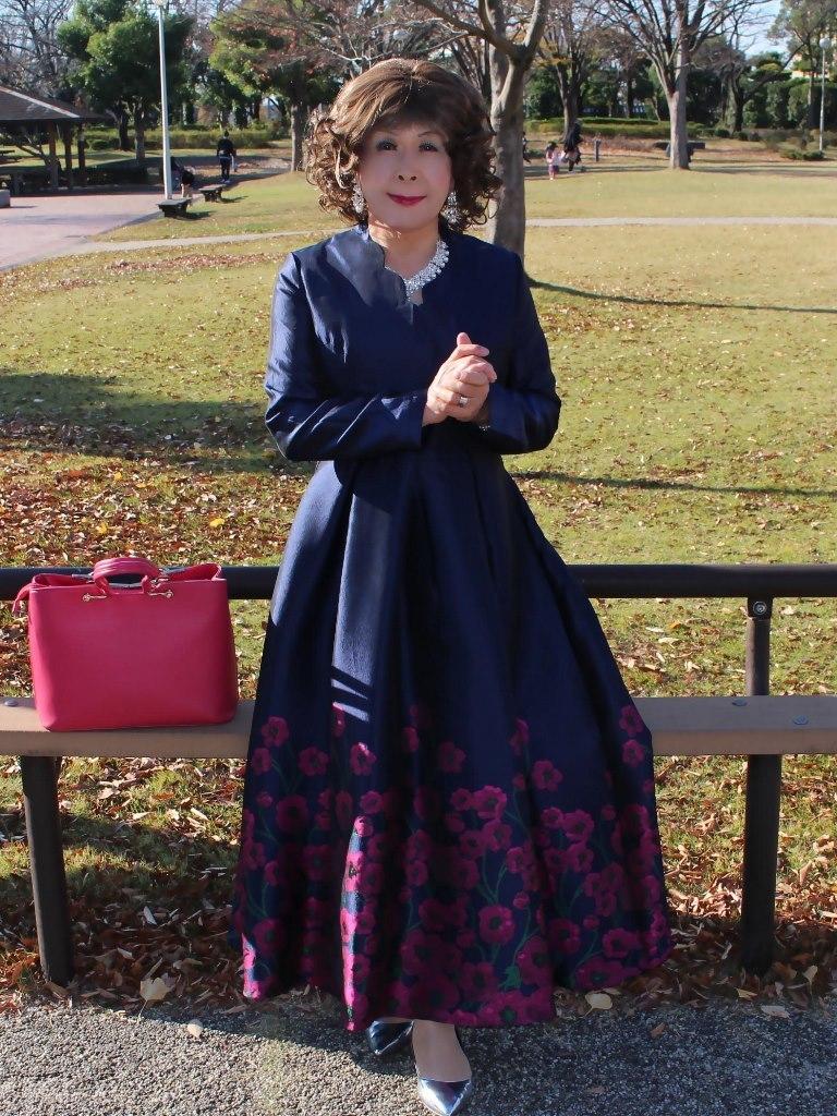裾花柄濃紺ドレスB(4)
