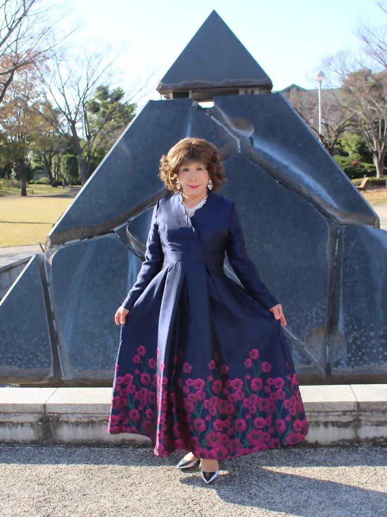 裾花柄濃紺ドレスB(5)