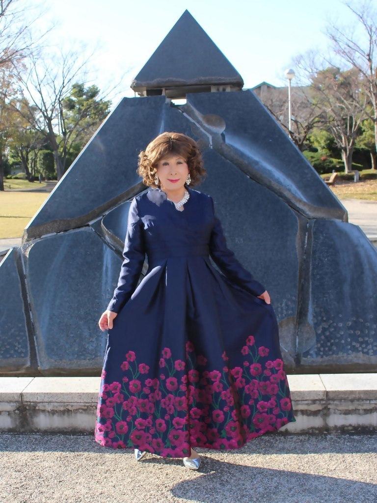 裾花柄濃紺ドレスB(6)