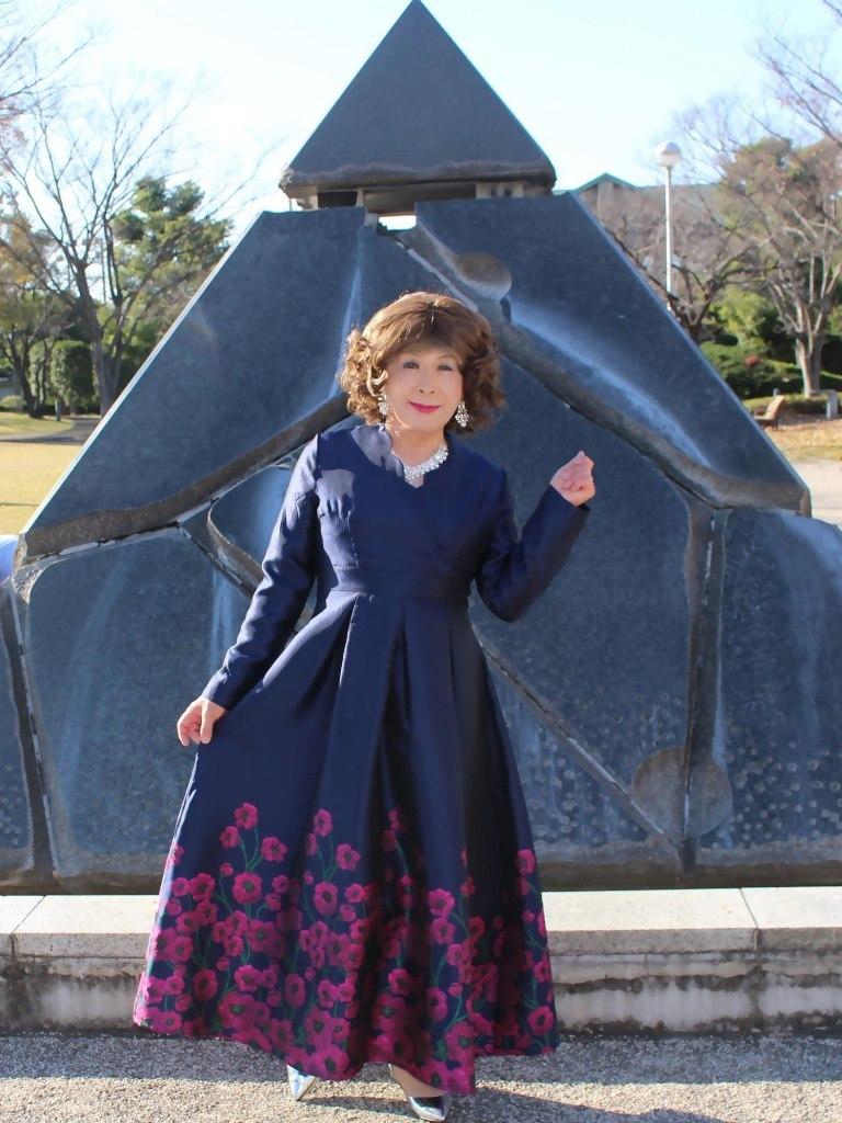 裾花柄濃紺ドレスB(7)