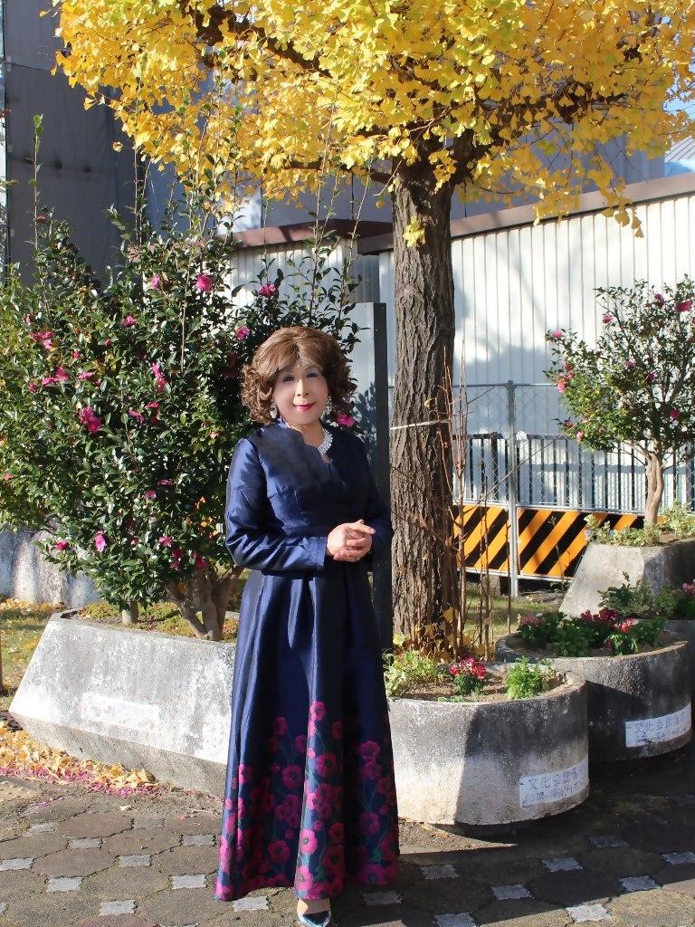 裾花柄濃紺ドレスB(8)