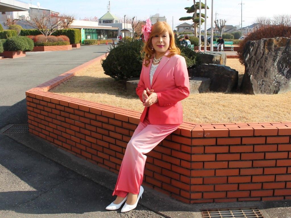 ピンクグラデーションパンツスーツA(7)