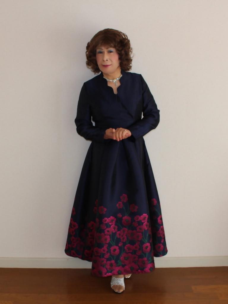 裾花柄紺ロングドレス部屋A(4)