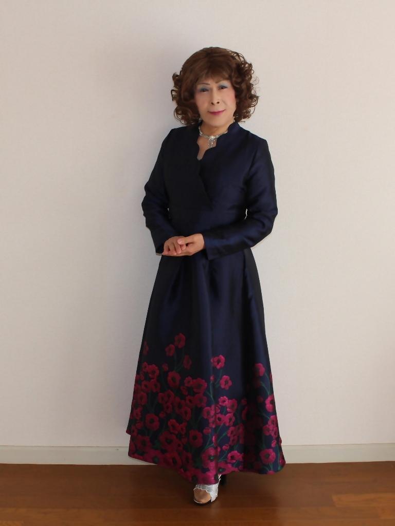 裾花柄紺ロングドレス部屋A(5)