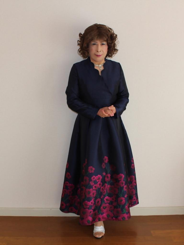 裾花柄紺ロングドレス部屋A(6)