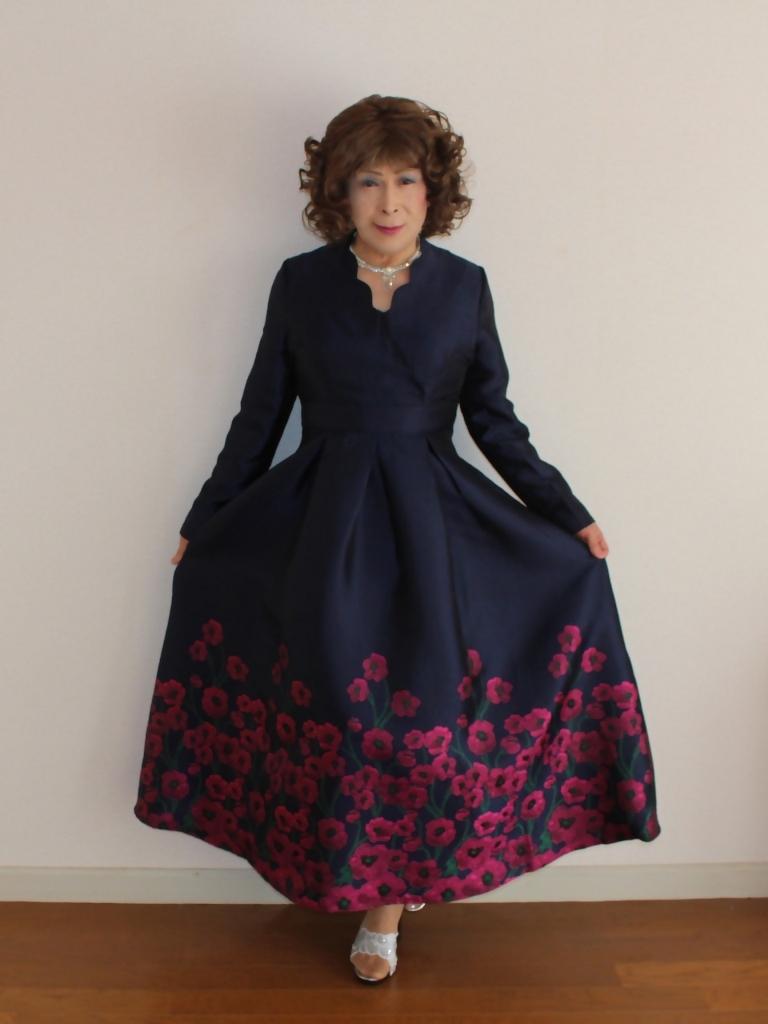 裾花柄紺ロングドレス部屋A(7)