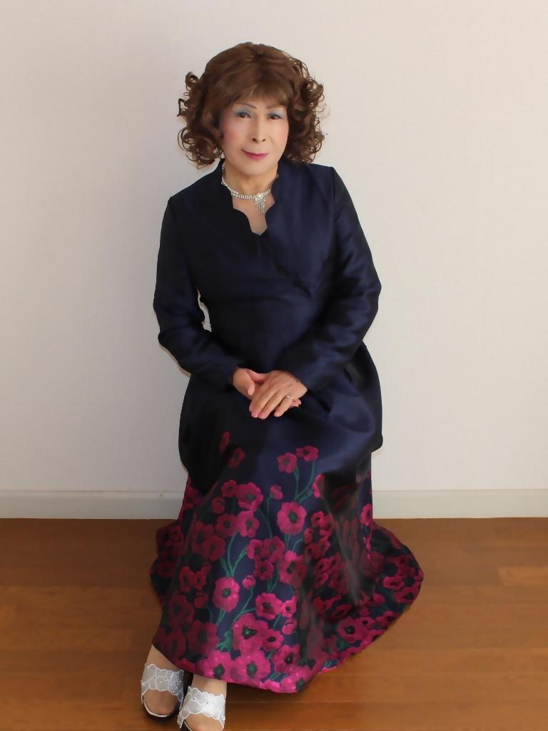 裾花柄紺ロングドレス部屋C(3)