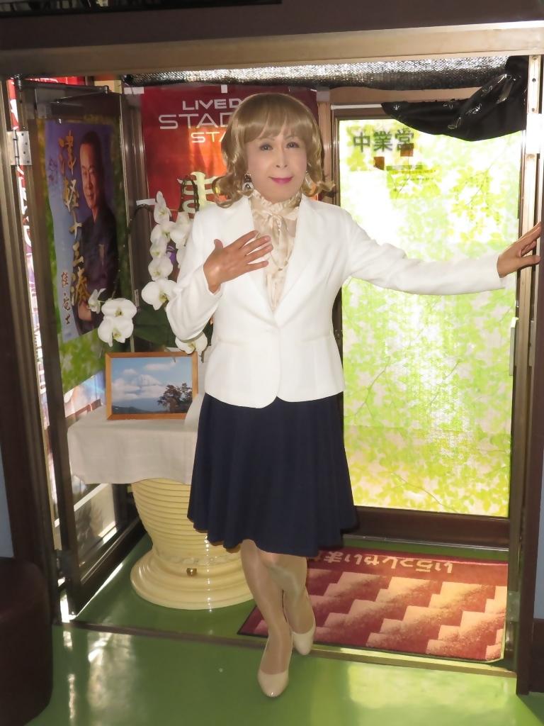 白ジャケット紺フレアースカートA(1)