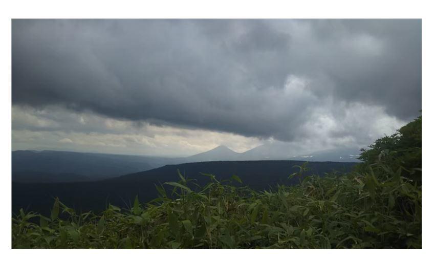 11帰路の登山道からの十勝岳方面