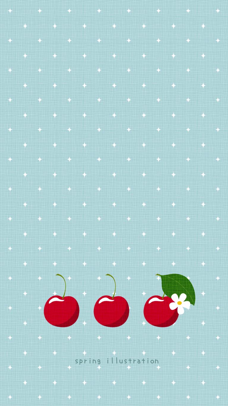さくらんぼ 果物のイラストスマホ壁紙 Spring Illustration シンプルでかわいいイラストのスマホ壁紙 スマホ待ち受け
