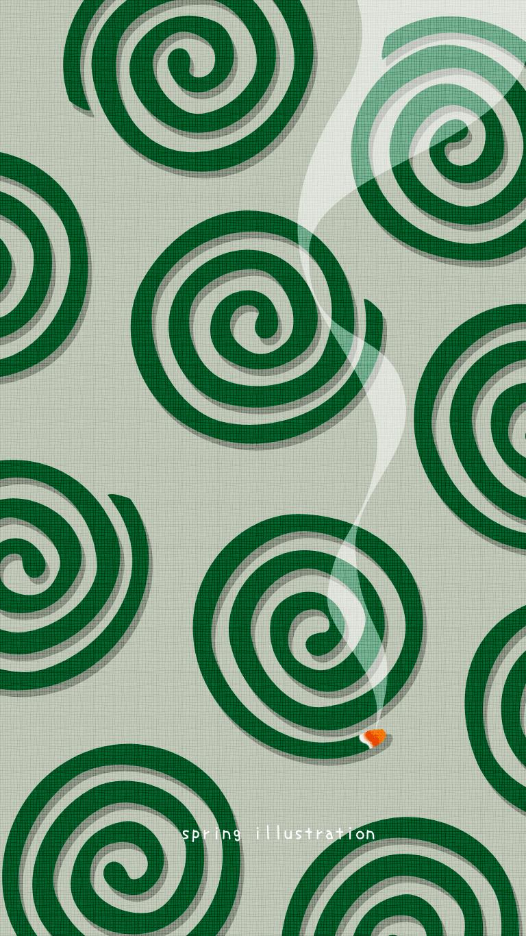 蚊取り線香 夏のイラストスマホ壁紙 Spring Illustration シンプルでかわいいイラストのスマホ壁紙 スマホ待ち受け