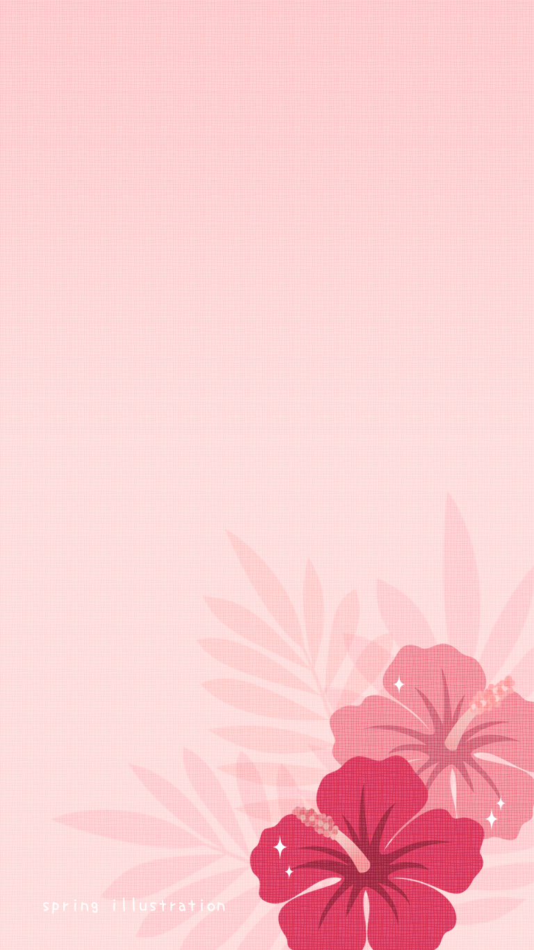 ハイビスカス 夏の花のイラストスマホ壁紙 Spring Illustration シンプルでかわいいイラストのスマホ壁紙 スマホ待ち受け