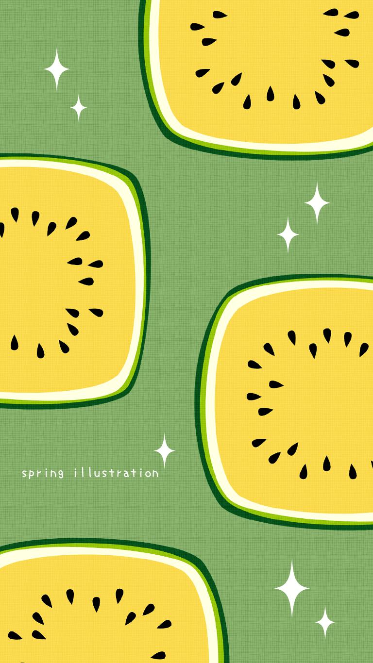 クリームすいか 夏の果物のイラストスマホ壁紙 Spring Illustration シンプルでかわいいイラストのスマホ壁紙 スマホ待ち受け