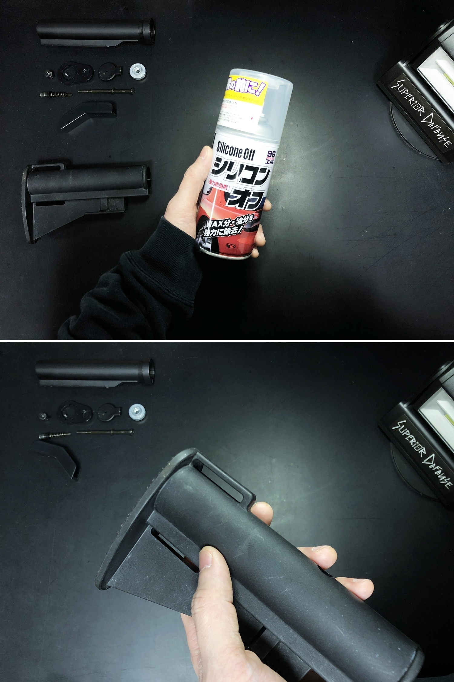 4 朽ち果てたM733コマンドストックをレトロライフルストック1970年代っぽく再リメイクするぞ!!ALUMINUM BUTTSTOCK CAR-15 XM177 AR-15 M733 COMMANDOS !! DIY リメイク 塗装 カスタム レビュー!!