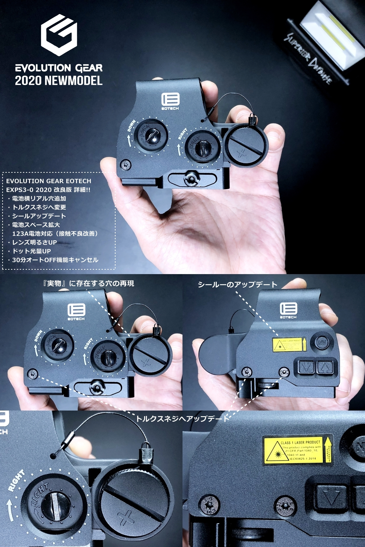 3 EVOLUTION GEAR 2020 改良版 EOTech EXPS3-0 NEW!! 最新リアルバージョンの改良点を徹底検証だ!! 新エボギア & 旧エボギア & 実物 イオテック ホロサイト!! 開封 比較 検証 取付 レビュー!!