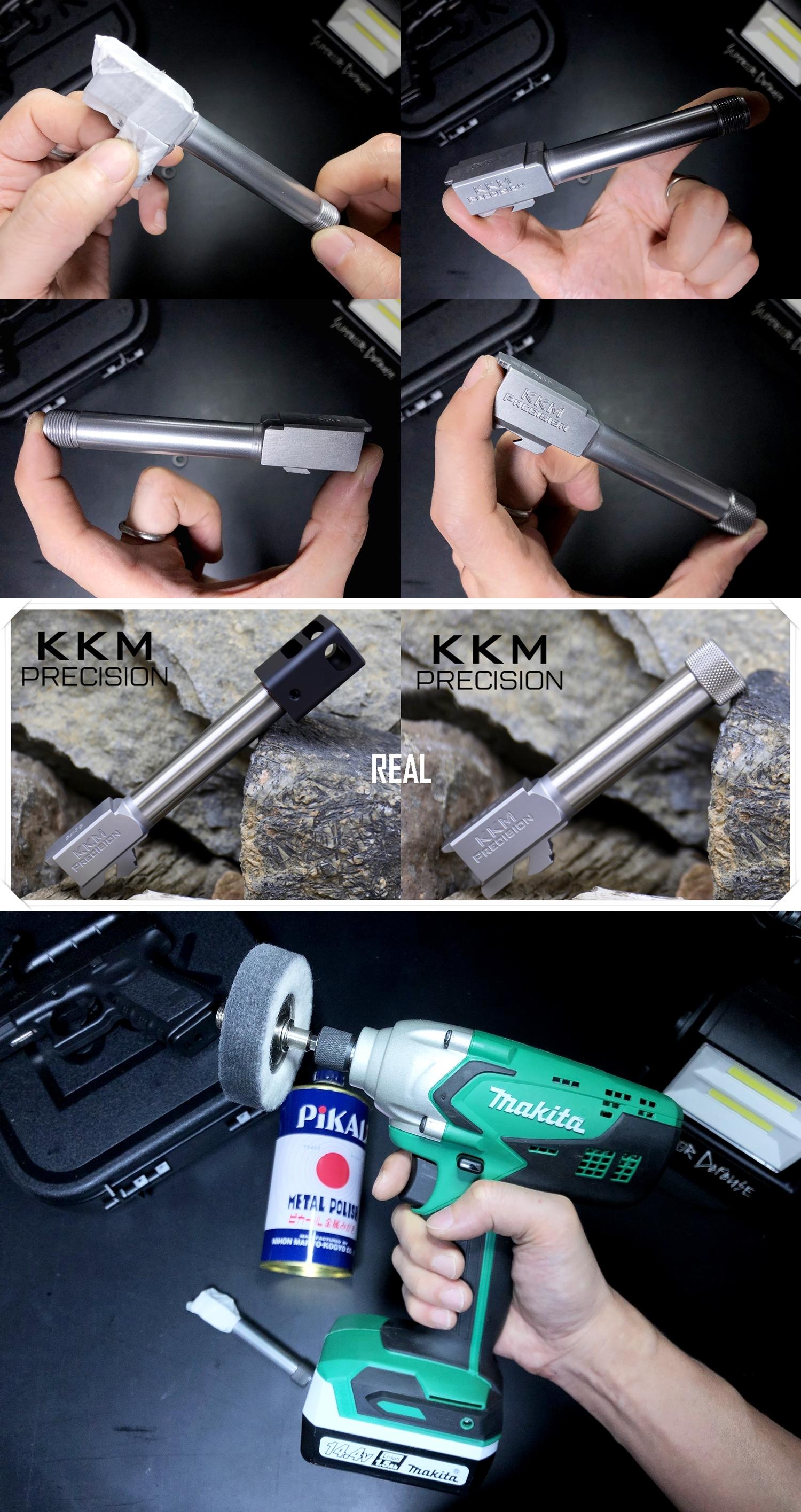 8 KKM MATCH BARREL + PROTECTOR KJ WORKS G19 TYPE & COMPENSATOR β-VERSION HILOG ORIGINAL 3D MOCKUP!! 『SUPDEFG19』自力で作るぞ大作戦!! 最も重要なアウターバレル&コンペンセイターの準備は整った!! DIY サン