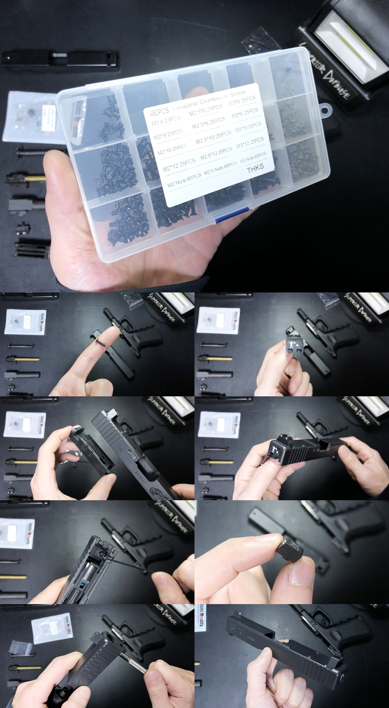 17 KJ WORKS GLOCK19 GBB SUPDEF G19 スライドカスタム SUPDEF G19 フロントセレーション RMRスライド PRIVATEER GROUP バックプレート HILOG KKM COMPENSATOR PROXXON MF70 マイクロフライス盤 卓上フライス 開封 D