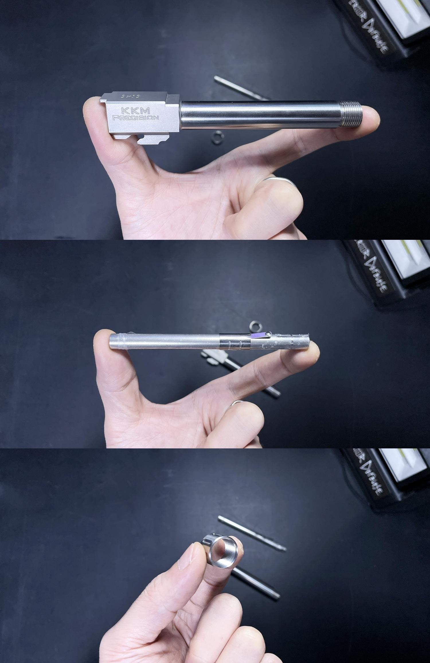 2 Guns Modify KKM PRECISION GLOCK ステンレスアウターバレル 東京マルイ G17 G18C GBB GET! リアルで重量感あるCNC 精密切り出し加工! BARREL+PROTECTOR+ショートリコイルアシストスプリング+インナーバレルセット