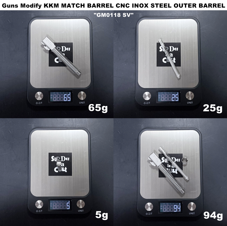 3 Guns Modify KKM PRECISION GLOCK ステンレスアウターバレル 東京マルイ G17 G18C GBB GET! リアルで重量感あるCNC 精密切り出し加工! BARREL+PROTECTOR+ショートリコイルアシストスプリング+インナーバレルセット