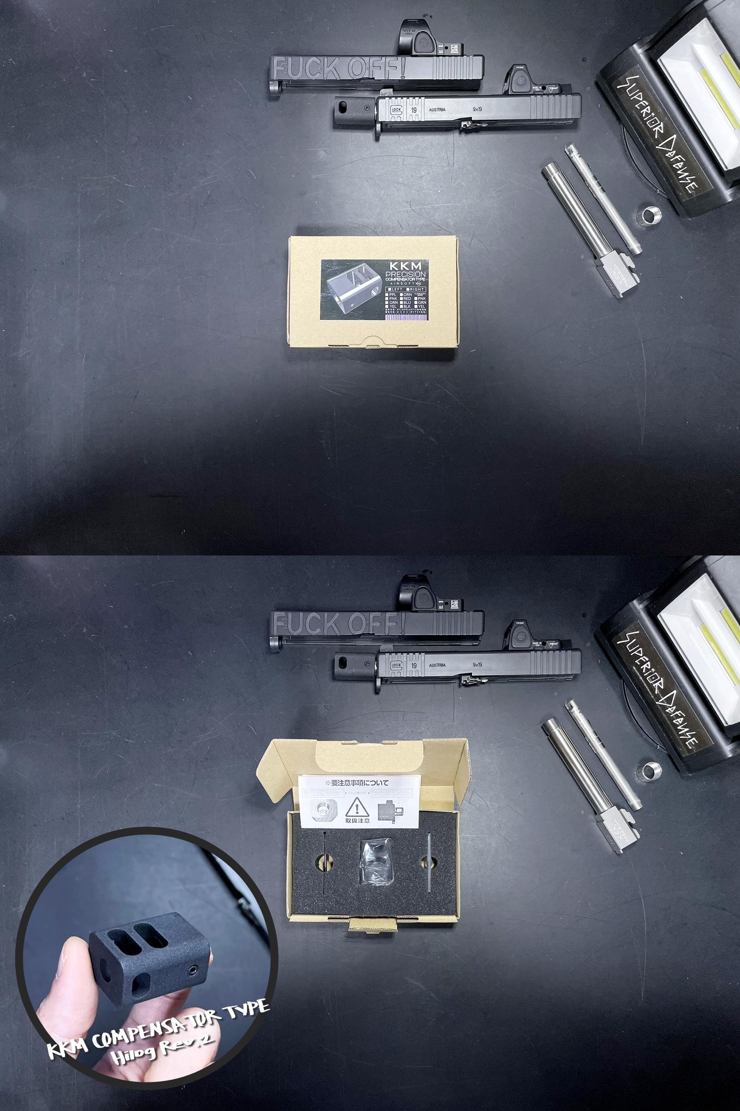 4 Guns Modify KKM PRECISION GLOCK ステンレスアウターバレル 東京マルイ G17 G18C GBB GET! リアルで重量感あるCNC 精密切り出し加工! BARREL+PROTECTOR+ショートリコイルアシストスプリング+インナーバレルセット