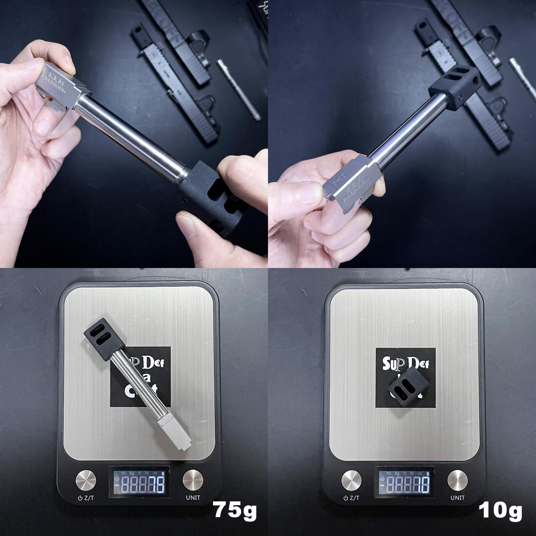 5 Guns Modify KKM PRECISION GLOCK ステンレスアウターバレル 東京マルイ G17 G18C GBB GET! リアルで重量感あるCNC 精密切り出し加工! BARREL+PROTECTOR+ショートリコイルアシストスプリング+インナーバレルセット