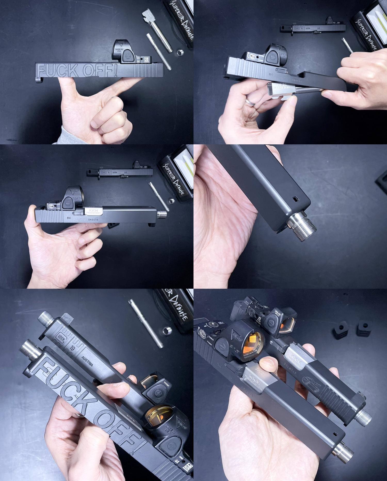 6 Guns Modify KKM PRECISION GLOCK ステンレスアウターバレル 東京マルイ G17 G18C GBB GET! リアルで重量感あるCNC 精密切り出し加工! BARREL+PROTECTOR+ショートリコイルアシストスプリング+インナーバレルセット
