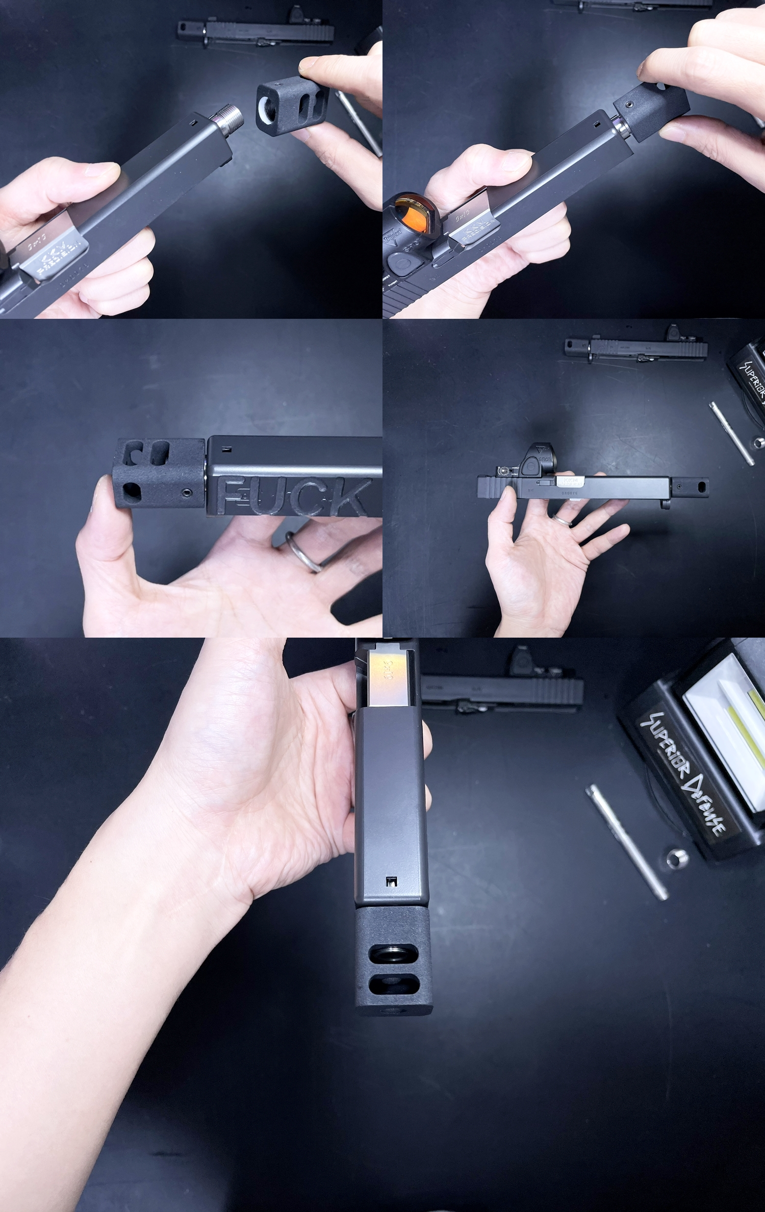 11 Guns Modify KKM PRECISION GLOCK ステンレスアウターバレル 東京マルイ G17 G18C GBB GET! リアルで重量感あるCNC 精密切り出し加工! BARREL+PROTECTOR+ショートリコイルアシストスプリング+インナーバレルセッ