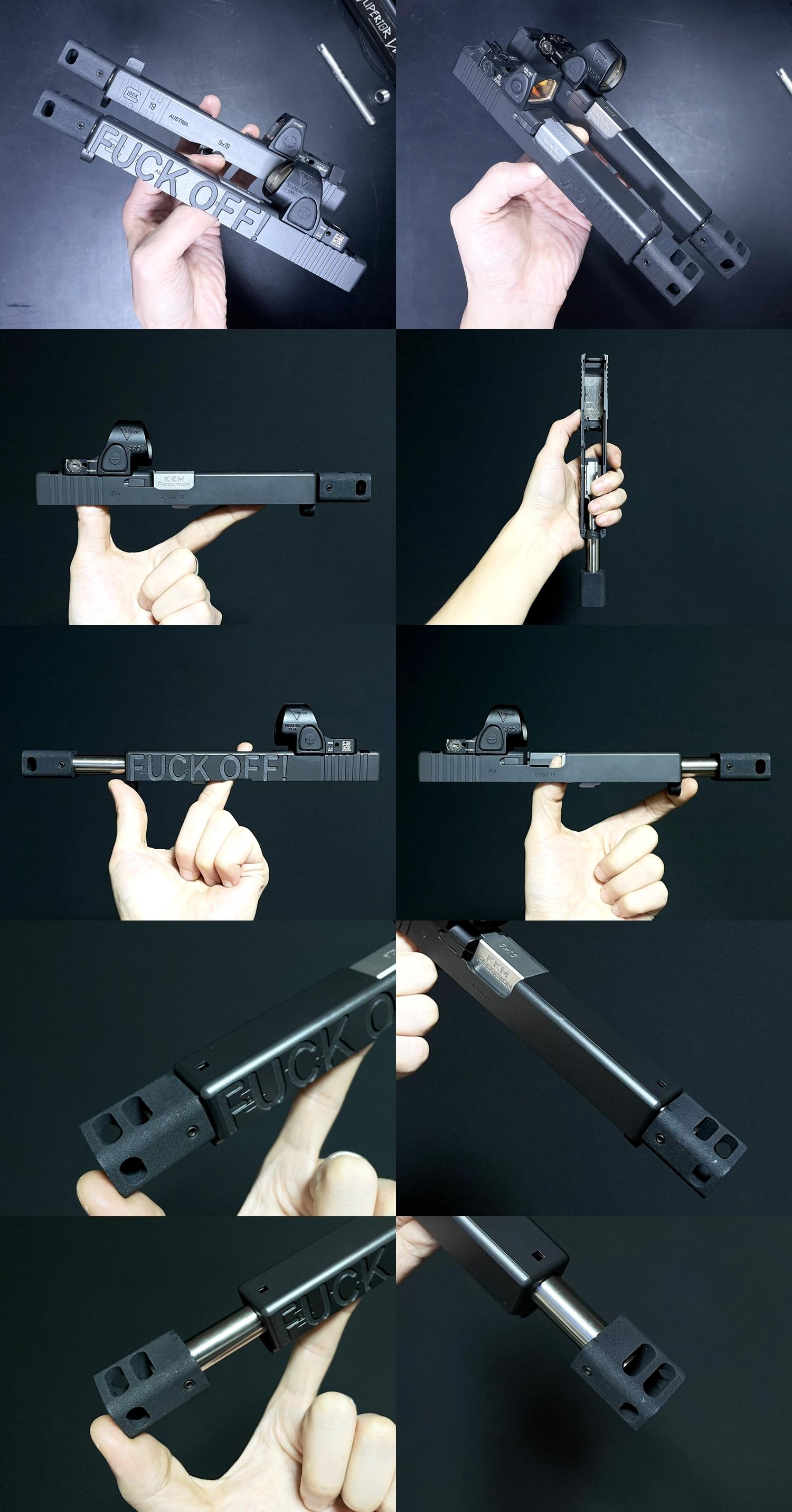 12 Guns Modify KKM PRECISION GLOCK ステンレスアウターバレル 東京マルイ G17 G18C GBB GET! リアルで重量感あるCNC 精密切り出し加工! BARREL+PROTECTOR+ショートリコイルアシストスプリング+インナーバレルセッ