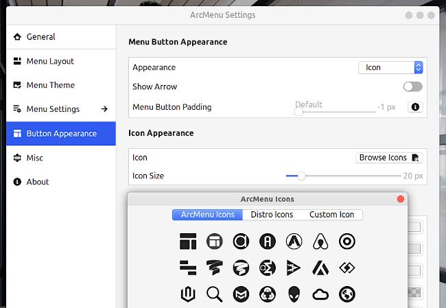 ArcMenu GNOME Shell 拡張機能 ボタンアイコン