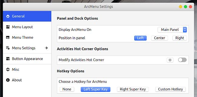 ArcMenu GNOME Shell 拡張機能 一般オプション