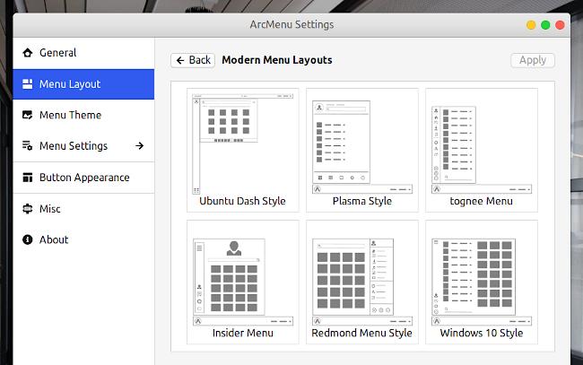ArcMenu GNOME Shell 拡張機能 レイアウトオプション