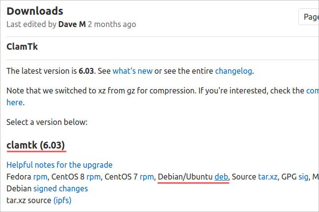 ClamTk Ubuntu 20.04 deb ダウンロード