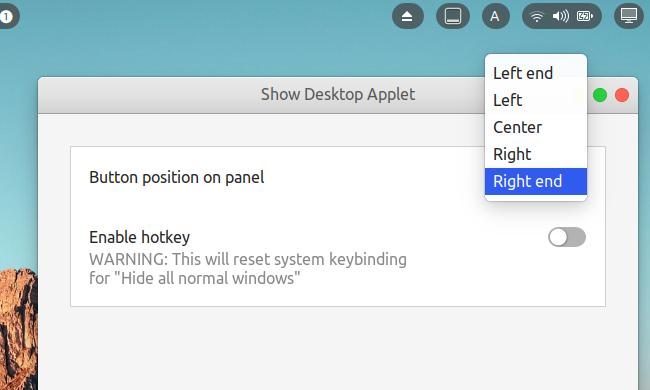 Show Desktop Applet - GNOME Shell 拡張機能 オプション