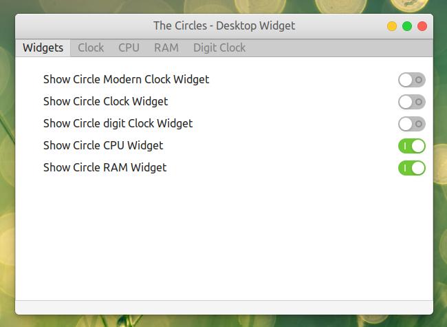 The Circles GNOME Shell 拡張機能 オプション ウィジェット