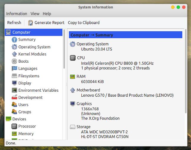 Ubuntu 20.04 HardInfo