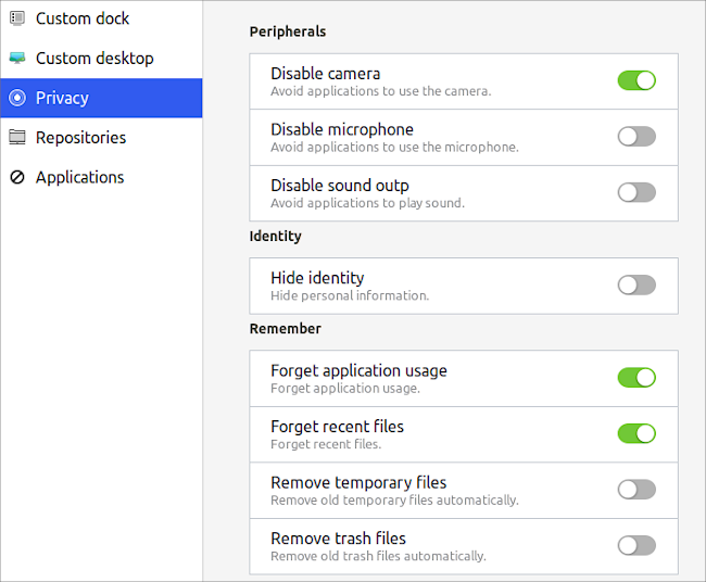 Ubuntu First Steps プライバシーの設定