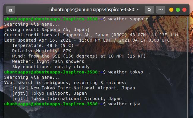 weather-util 天気 コマンド