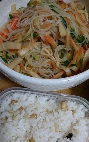 もち麦雑穀米とはるさめ酢の物
