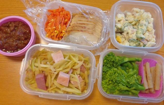 肉みそ、人参しりしり、鶏むね肉、ぽてとサラダ、パパイヤイリチー、菜の花、ごぼう (2)