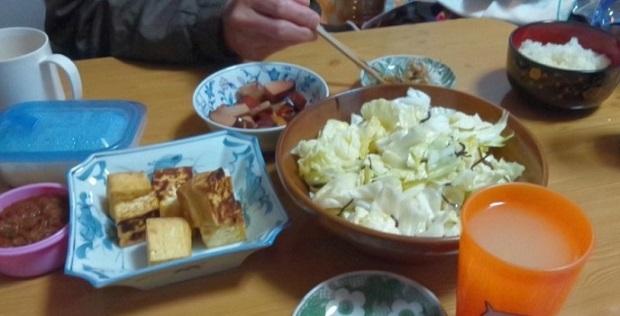 肉みそ生揚げ、焼き豚、塩昆布キャベツ、大根おろし (2)