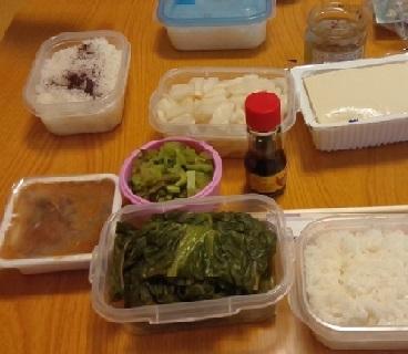 あんだんすー、高菜漬け、白菜漬け、豆腐&ふきのとうみそ