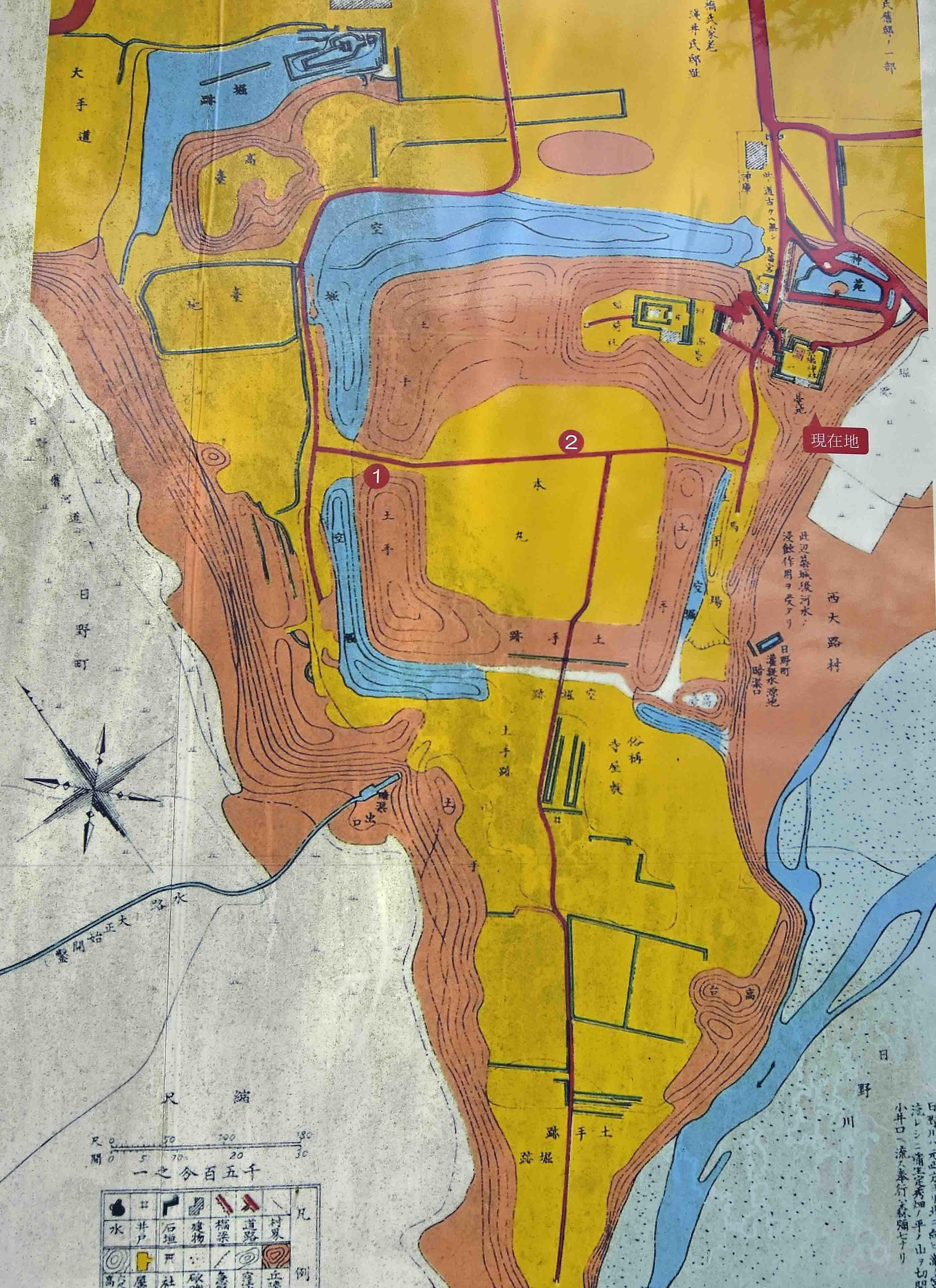 日野城縄張り図