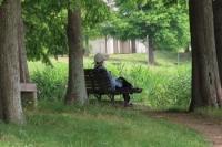 畔のベンチで寛ぐ人