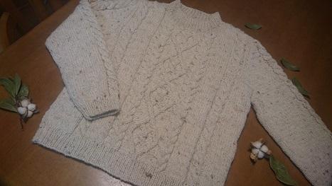 アラン模様オリジナルセーター完成