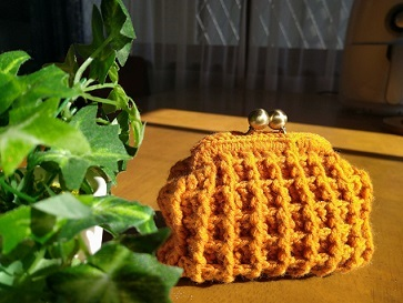 ワッフル編みがま口